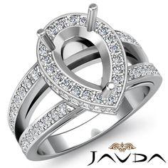Diamond Engagement Halo Pave Ring Pear Semi Mount Split Shank 14k w Gold 0 7ct | eBay