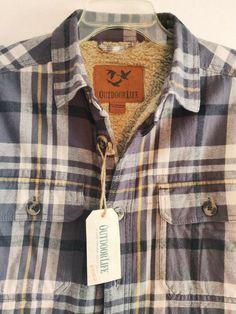 9f4c69fd6031 Outdoor Life Mens Sherpa Fleece Lined Shirt Jacket Grey Plaid Sz SMALL NWT