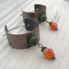 Hammered Hoop Earrings  Beaded Copper and Sterling by GypsyIntent, $44.00