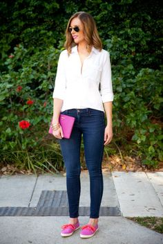 Business casual with pink keds.