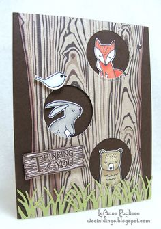 wee inklings - Rustic Retreat, Woodland Greetings (Close to My Heart) Woodland Creatures, Woodland Animals, Angel Cards, Spring Theme, What Inspires You, Get Well Cards, Cozy Christmas, Graphic 45, Nursery Design