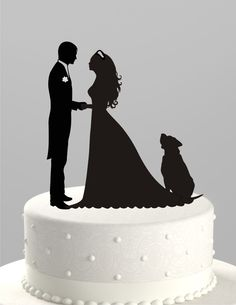 Wedding Cake Topper Silhouette Groom and Bride with Dog, Acrylic Cake Topper [CT38pd] by TrueloveAffair on Etsy