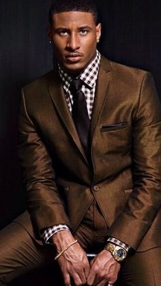 Men's Brown Suit, White and Brown Gingham Dress Shirt, Dark Brown Tie, Dark Brown Pocket Square♛ ♛~✿Ophelia Ryan ✿~♛