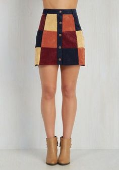 You're My Perfect Patch Skirt by Mink Pink - Multi, Red, Orange, Yellow, Blue, Solid, Checkered / Gingham, Casual, Boho, 60s, 70s, Folk Art, Festival, A-line, Fall, Winter, Suede, Short