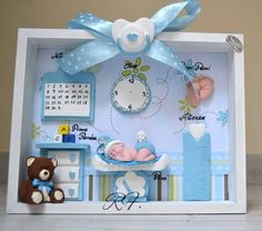Personalized picture for the room of the small and adorable God's gift. Ideal gift to remember the most Important day for a mom and decorate the room of your children. Possibility of personalization. Cool Paper Crafts, Paper Crafts Origami, Diy Bebe, Baby Frame, Clay Baby, Baby Box, Baby Album, Baby Scrapbook, Handmade Birthday Cards