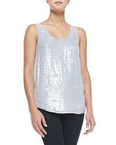 Winter Mist Allover Sequin Tank, Marble at CUSP.