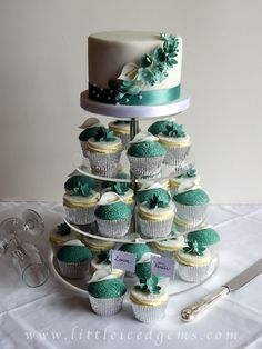 Wedding cupcake tower with calla lilies and freesias - www.littleicedgems.com