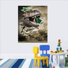 3D Dinosaur Head Jurassic Park RUnning Cartoon Colorful Wall Sticker Quote Decal // ebay shop:http://stores.ebay.com/leyintzonline