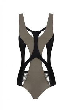 Cutout Lace Detailed Kaki One-Piece Swimsuit, Robyn (£255)