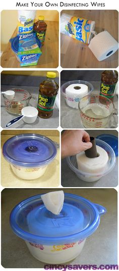 make your own disinfectant wipes..... we use to do this with baby oil and baby shampoo for DIY baby wipes in the daycare I worked at. Works like a charm and so cheap!