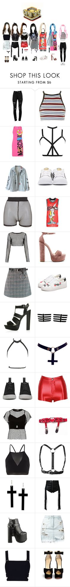 """""""《Debut Stage》Ice Kiss - Girl Power @인기가요 Inkigayo 20170723"""" by official-icekiss ❤ liked on Polyvore featuring Yves Saint Laurent, Motel, Moschino, adidas Originals, Bitching & Junkfood, Steve Madden, Topshop, Zana Bayne, Chicnova Fashion and Dr. Martens"""