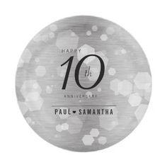#template - #10th Tin Wedding Anniversary Celebration Paper Plate