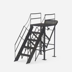 Lot 250: American. salesman's sample fire escape. c. 1930, steel. 41 w x 14 d x 30¼ h in. estimate: $5,000–7,000. Fire escape features a retractable staircase that can be raised and lowered.