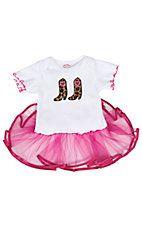 Baby Korral® Girls White w/ Leopard Boots & Hot Pink Tutu Onesie