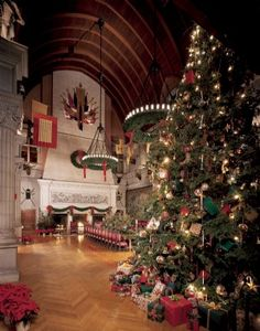 A 35-foot live Fraser fir is placed in the Banquet Hall of Biltmore House every holiday season. The tradition of having a tree in this room goes back to 1895 when George Vanderbilt first opened the home to his family and friends.  Copyright 2007 The Biltmore Company, all rights reserved.