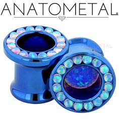 00ga Super Gemmed Eyelets in ASTM F-136 titanium, anodized blue with synthetic Opals #6 and #5 gems