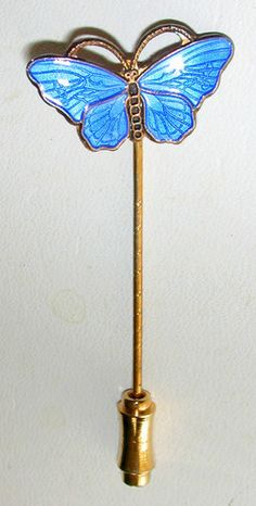 """Opro Enameled Gilded Sterling Silver """"Butterfly"""" Stick Pin Gorgeous 