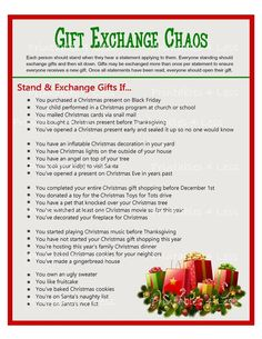 CHRISTMAS GIFT SWAP - DIY INSTANT DOWNLOAD  If youre hosting a party or family get together and plan to exchange gifts, it might be fun to use this Christmas gift exchange game to distribute the presents. It will have everyone standing up and sitting down at various times while swapping gifts in Christmas Gift Exchange Games, Fun Christmas Party Games, Xmas Games, Holiday Games, Christmas Activities, Christmas Traditions, Holiday Fun, Christmas Holidays, Christmas Ideas