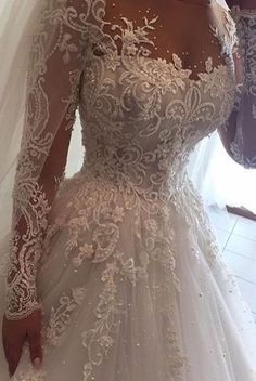 Ball Gown Illusion Jewel Long Sleeves Wedding Dress with Beading Appliques Ballkleid Brautkleid mit Perlen Applikationen Wedding Dress Sleeves, Long Wedding Dresses, Long Sleeve Wedding, Bridal Dresses, Wedding Gowns, Lace Dress, Beautiful Dresses, Ball Gowns, Wedding Ideas