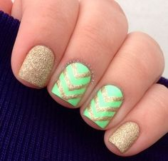 green and gold. chevron.