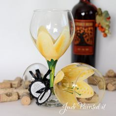 Stargazer lilly hand painted wine glass in yellow by JudiPaintedit, $30.00