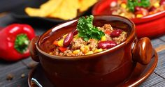 This chili has five different vegetables and two kinds of beans. I like to make white rice and put it in the bowl first and then put the chili on top. Crock Pot Recipes, Healthy Crockpot Recipes, Chili Recipes, Slow Cooker Recipes, Cooking Recipes, Delicious Recipes, Chicken Taco Chili, Taco Soup, Turkey Chilli