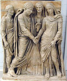 Relief depicting a marriage ceremony in ancient Rome.