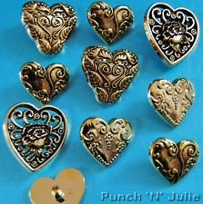 LARGE GOLD HEARTS - Wedding Vintage Victorian Novelty Dress It Up Craft Buttons