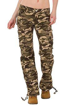 b34a4f9a7279 Pantalones Cargo Militares de Camuflaje para Mujer Jeans de Combate Anchos  y Sueltos – Verde -
