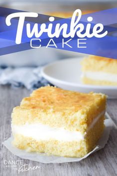 This layered Twinkie Cake starts with a yellow cake mix and is filled with a fluffy, creamy, not-too-sweet vanilla filling.  Like the Twinkie you've grown up with, but better!  #YellowCakeMix #Twinkie #TwinkieCake #EasyLayerCake
