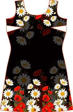 basic dress with digital press design