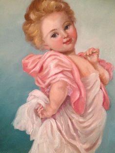 Barnes oil painting vintage antique style angel cherub girl ...