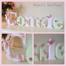 PERSONALISED Wooden Letters Baby Kids Hand Painted Floral Shabby Chic Girls