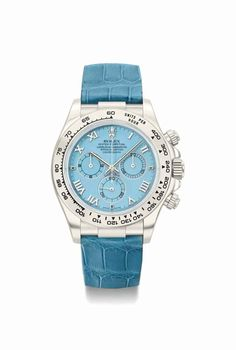 Rolex. A rare and attractive 18K white gold automatic chronograph wristwatch with blue hard stone dial, guarantee and box. Circa 2002 #ChristiesWatches