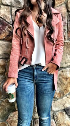 #fall #outfits women's pink full-zip jacket and blue jeans outfit