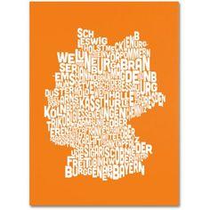 Trademark Art 'orange-Germany Regions Map' Canvas Art by Michael Tompsett, Size: 16 x 24, Orange