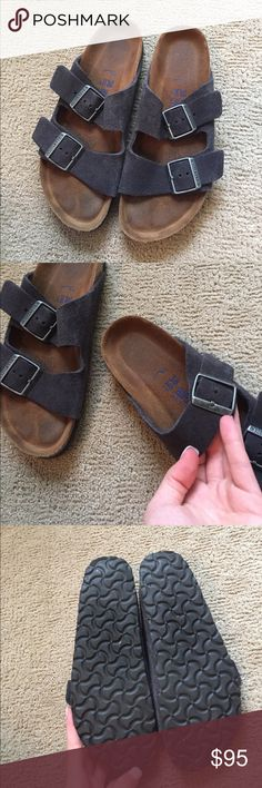 Arizona Birkenstock Suede Soft Footbed Only worn twice! Grey suede with silver buckles, also this pair has the cushioned insole. The suede makes it super comfy, top is soft so no blisters or rubbing when wearing! Birkenstock Shoes Sandals