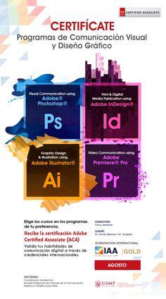 #CertificacionesAdobe | Pon a prueba tu #creatividad con nuestros cursos de certificación en #diseño gráfico y #comunicación visual. Échale un vistazo a los paquetes exclusivos para los alumnos, docentes y egresados de la #USMP.