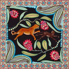 Vintage scarf in 100% silk, hand-rolled (70 cm x 70 cm)