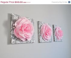 MOTHERS DAY SALE Nursery Decor - Trio Set 12 x 12 Canvases Wall Decor Light Pink Roses on Gray / White Damask art Picture Decor for Bedroom