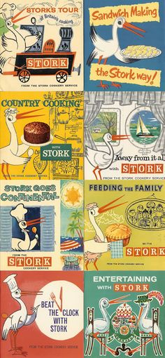 Collection of 1950s Stork margarine recipe booklets.
