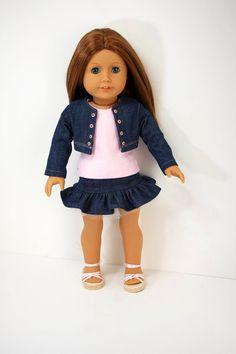 American Girl Doll ClothesDenim Jacket Skirt by sewurbandesigns