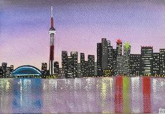 Watercolor painting, cityscape, Toronto, CN Tower, Sky Dome, night sky, city lights, Lake Ontario, #City #cityscape #Dome #lake #Lights #night #nightskypaintingacrylic #nightskypaintingeasy #nightskypaintingeasystepbystep #nightskypaintingtutorial #nightskypaintingwatercolor #Ontario #painting #sky #starrynightskypainting #Toronto #Tower #watercolor Arches Watercolor Paper, Watercolor Paintings, Original Paintings, Night Sky Painting, City Lights, Night Skies, Cn Tower, Ontario City, Toronto