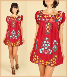 VtG 70 s Floral Mexican Embroidered MiNi Dress Tunic 191bca6757ad