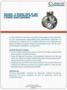 Extractor Tubular de alta eficiencia en transmisión de poleas y bandas, alabes ajustables.