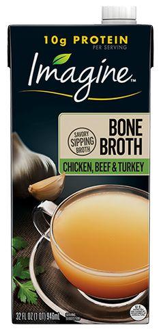 Chicken, Beef and Turkey Bone Broth – Imagine® Foods Homemade Bone Broth, Whole 30 Approved, Bones, Protein, Turkey, Healthy Eating, Nutrition, Diet, Chicken