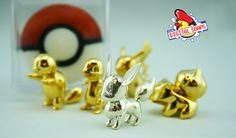 3D Pokeball Soaps with Pokemon inside. Solid silver Eevee, plus gold-plated Charmander, Squirtle, Bulbasaur and Pikachu.