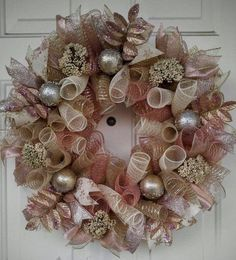 Rose gold Christmas wreath gold Christmas by WreathDesignsByLinda Rose Gold Christmas Decorations, Purple Christmas Tree, Christmas Mesh Wreaths, Christmas Rose, Victorian Christmas, Holiday Decor, Mesh Ribbon Wreaths, Christmas On A Budget, Christmas Ideas