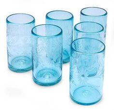Etched glasses, 'Aquamarine Flowers' (set of 6) by NOVICA $85 made in Mexico