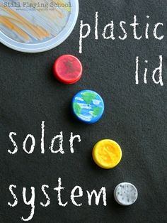 Plastic Lid Solar System. The recycled material for this month's Project Recycle & Create is plastic lids! We had friends collecting for us so we quickly acquired quite the collection...